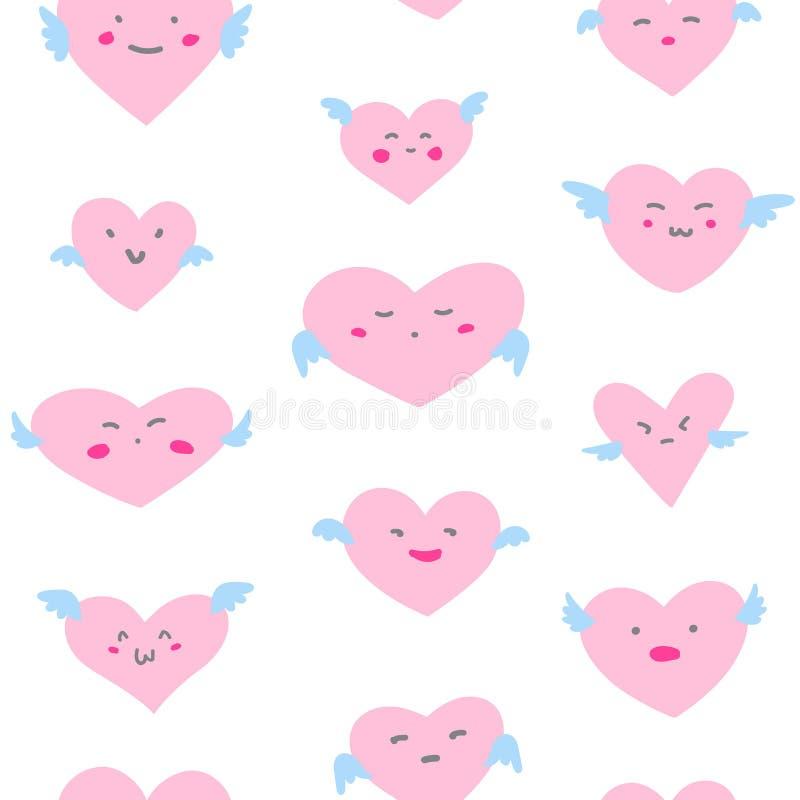 Het naadloze patroon van de valentijnskaartendag met de harten van emojigezichten stock illustratie