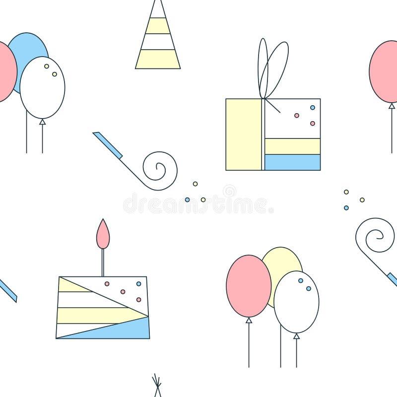 Het naadloze patroon van de verjaardag Leuke lineaire elementen Cake, giftdoos, luchtballons, verjaardag GLB Vector vlakke illust stock illustratie