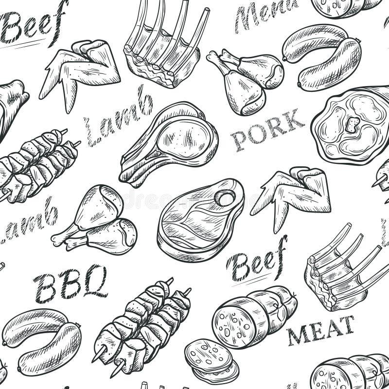 Het Naadloze Patroon van de vleesschets royalty-vrije illustratie