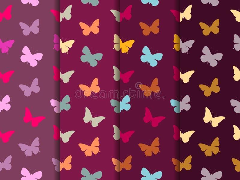 Het naadloze patroon van de vlinder Reeks naadloze patronen Veelkleurige vlinders stock illustratie