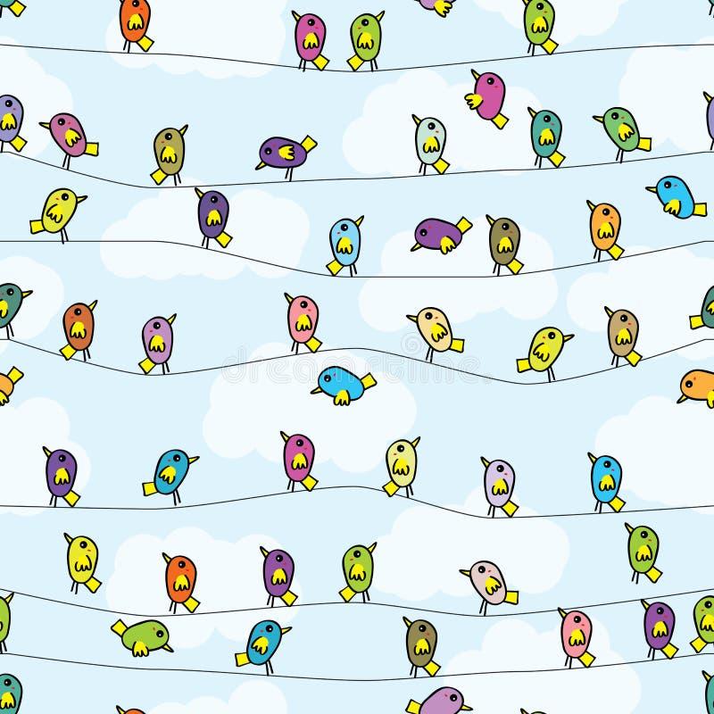 Het naadloze patroon van de vogeltribune vector illustratie