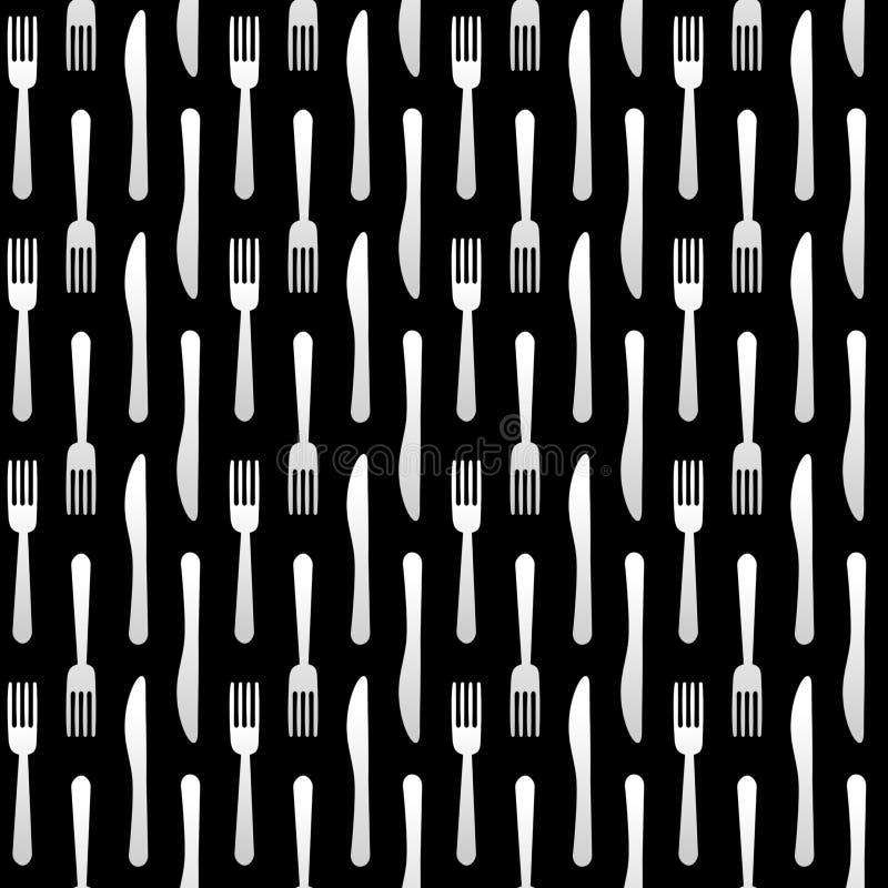 Het naadloze Patroon van de Vork en van het Mes