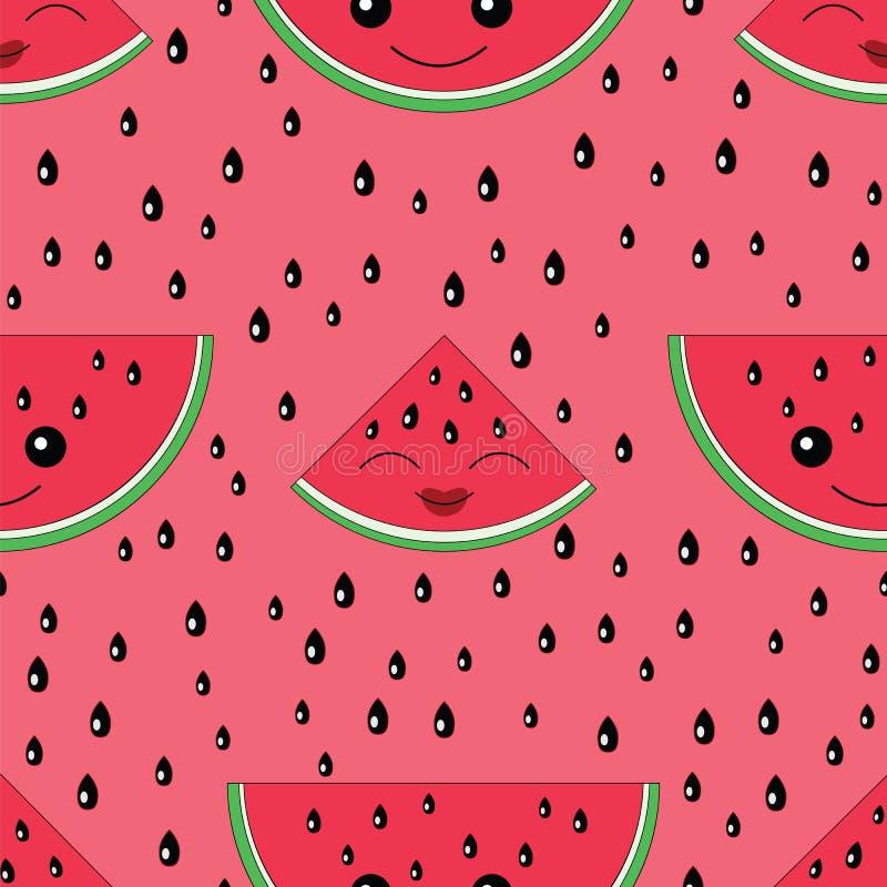 Het naadloze patroon van de watermeloen vector illustratie