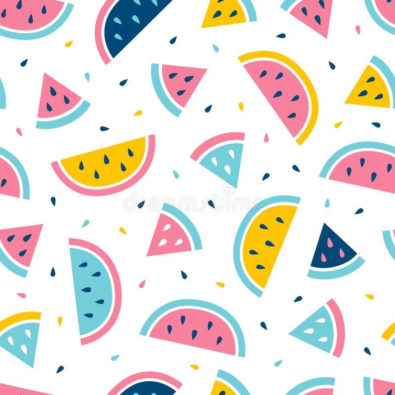 Het naadloze patroon van de watermeloen Het ontwerp van de manierdruk vector illustratie