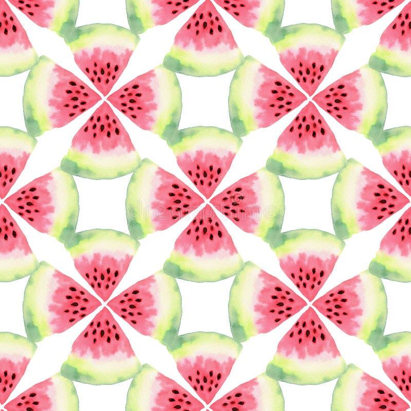 Het naadloze patroon van de watermeloenwaterverf Moderne voedselillustratie Textieldrukontwerp vector illustratie