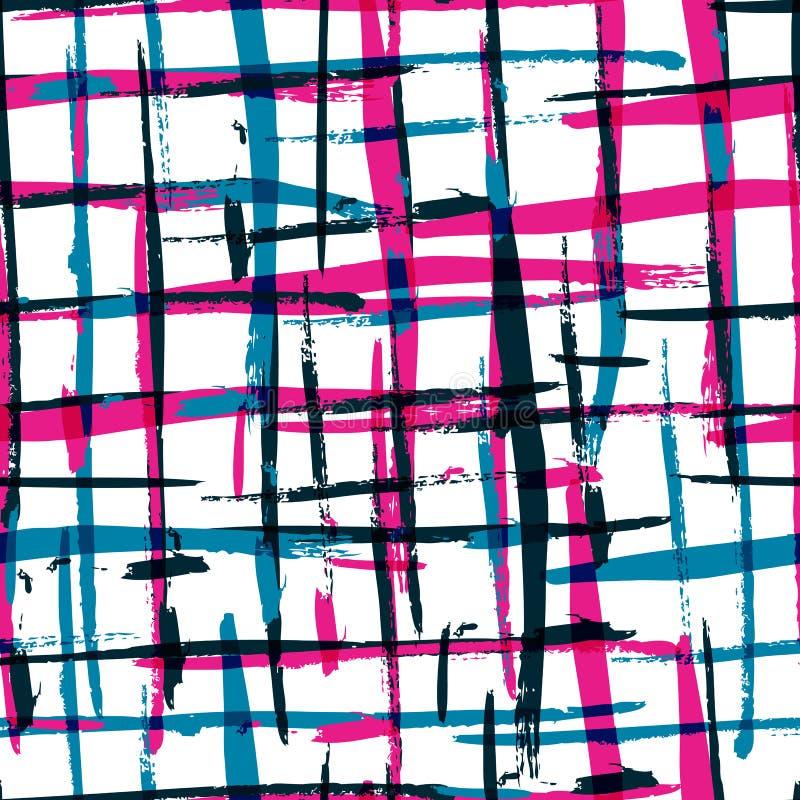 Het naadloze patroon van de waterverf gewaagde plaid met kleurrijke strepen Ve stock illustratie