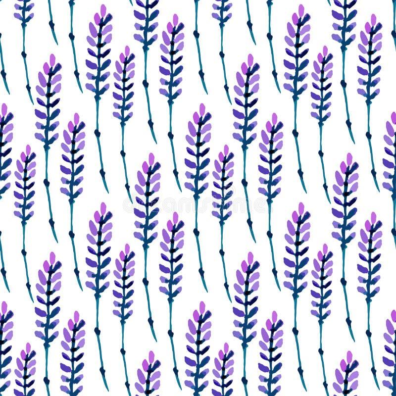 Het naadloze patroon van de waterverflavendel Patroon voor stof, document en andere druk en Webprojecten De achtergrond van de wa royalty-vrije illustratie