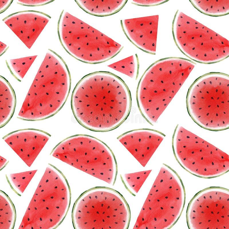 Het naadloze patroon van de waterverfwatermeloen vector illustratie