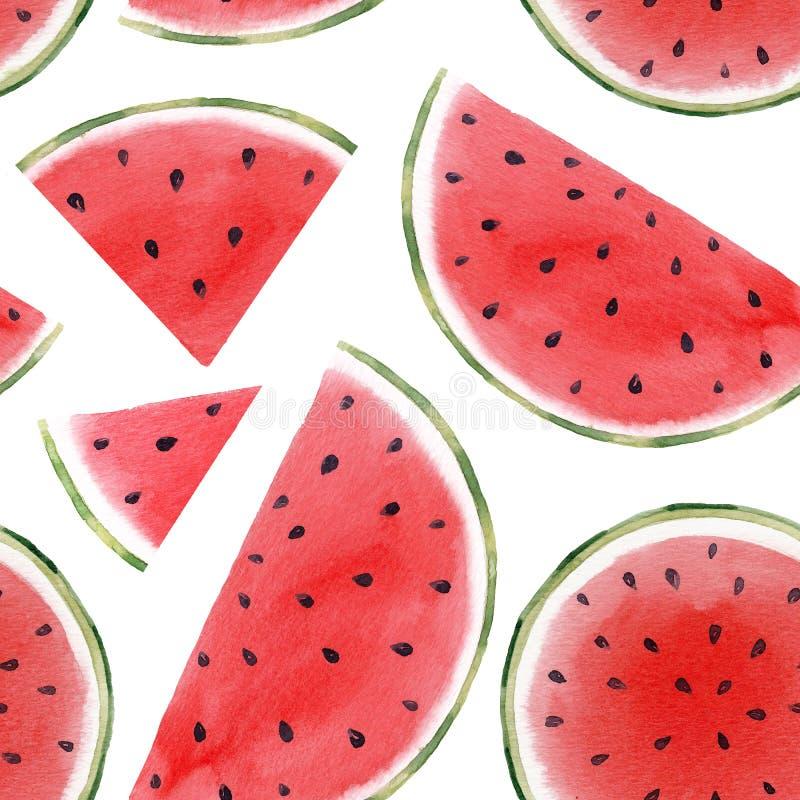 Het naadloze patroon van de waterverfwatermeloen royalty-vrije illustratie