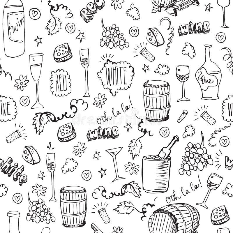 Het naadloze patroon van de wijnschets vector illustratie