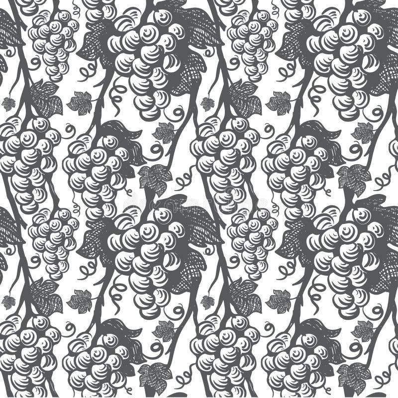 Het naadloze patroon van de wijnstok stock illustratie