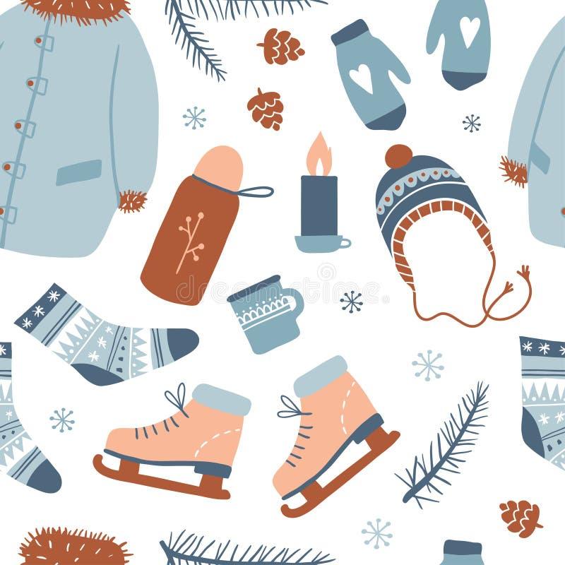 Het naadloze patroon van de winteractiviteiten stock illustratie