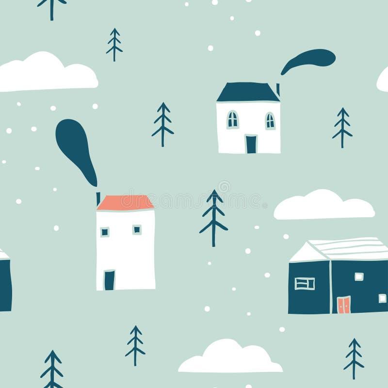 Het naadloze patroon van het de winterlandschap stock illustratie