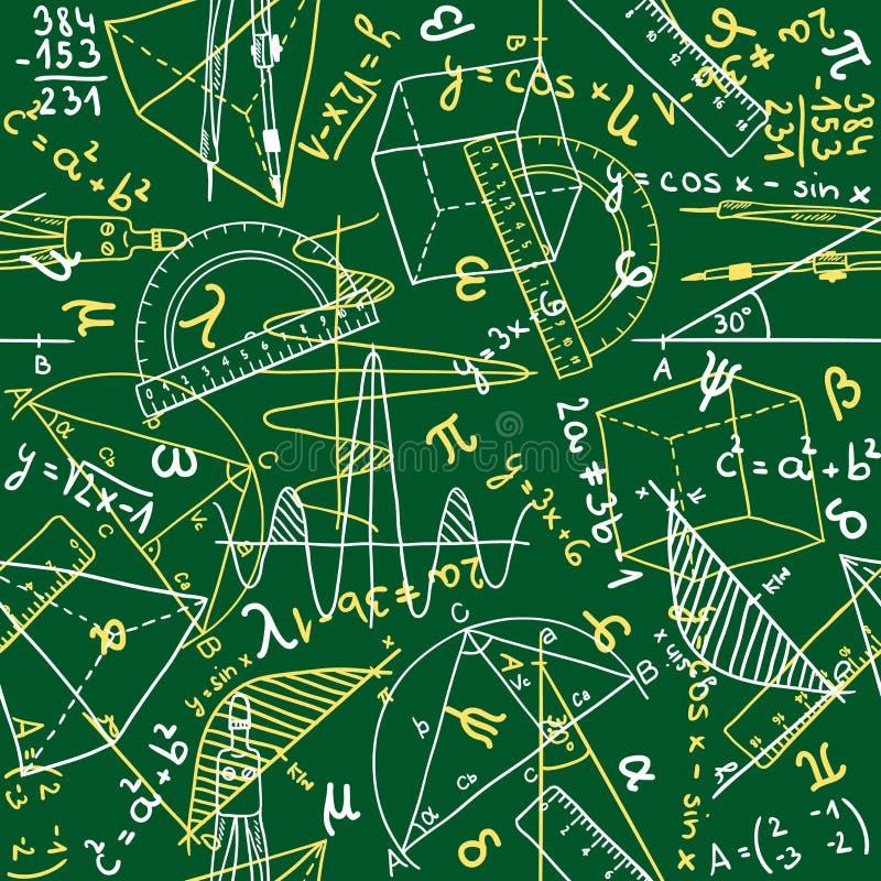 Het naadloze patroon van de wiskunde stock illustratie