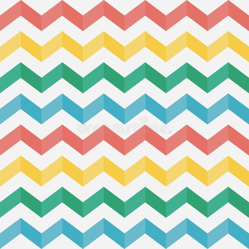 Het naadloze patroon van de zigzag chevron Multicolored horizontale strepen Vector illustratie stock illustratie