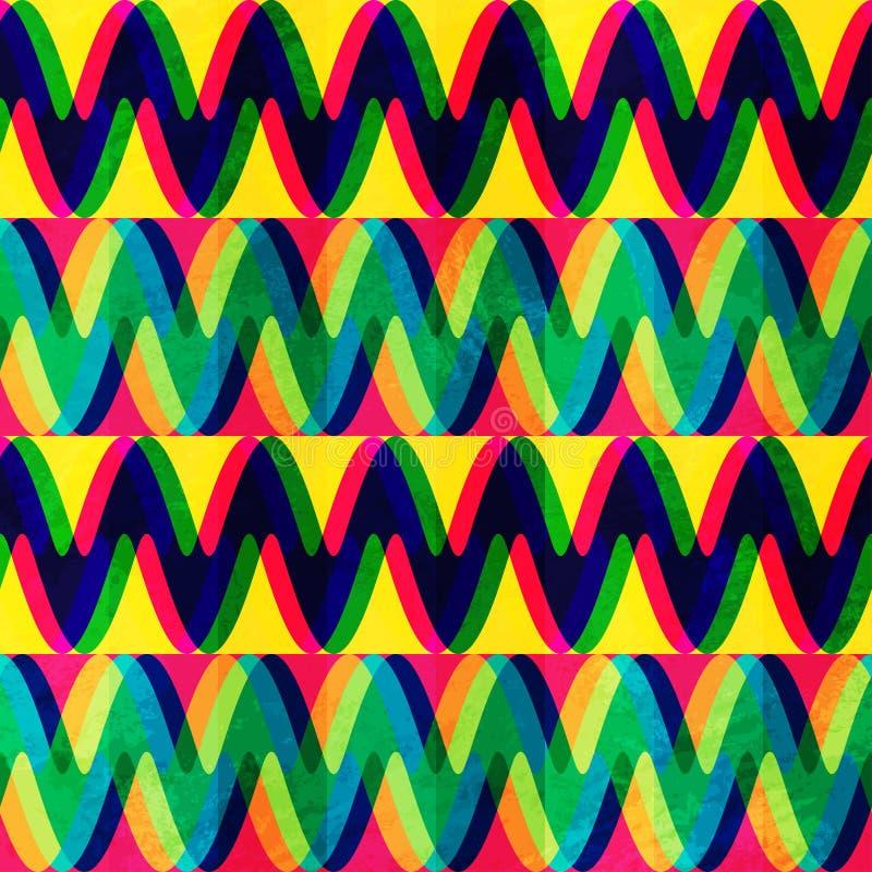 Het naadloze patroon van de zigzag met grungeeffect stock illustratie