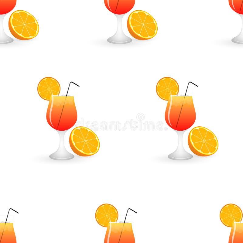 Het naadloze patroon van de de zomercocktail met sinaasappel royalty-vrije illustratie