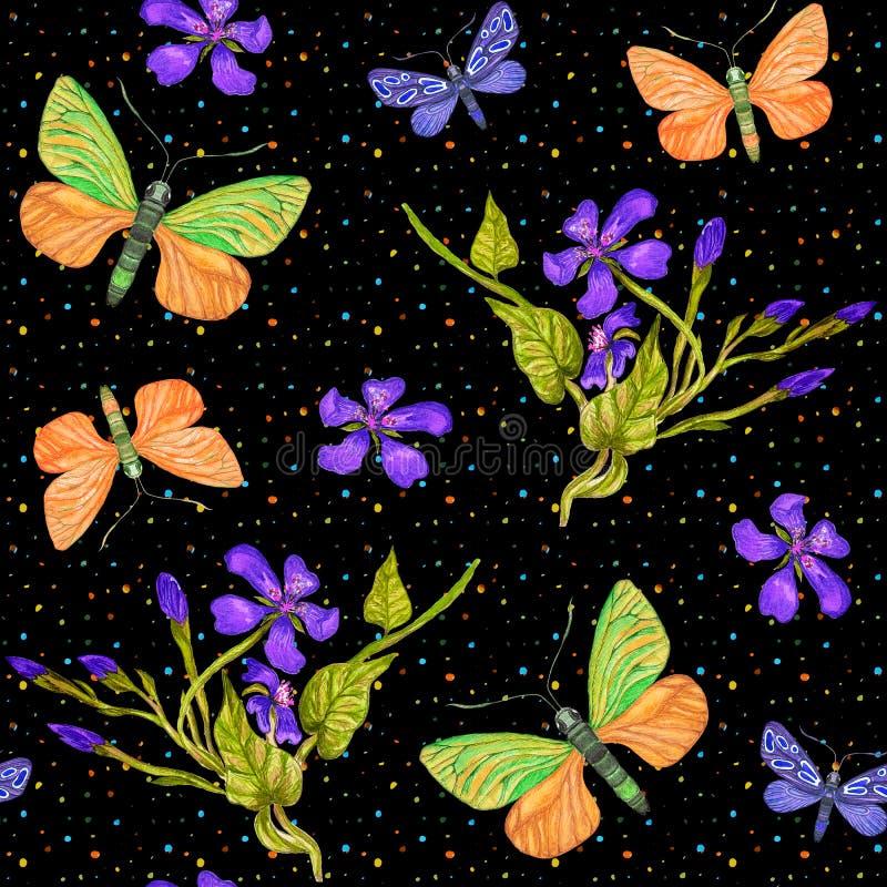 Het naadloze patroon van de de zomerwaterverf met vlinders, exotische bloemen stock illustratie