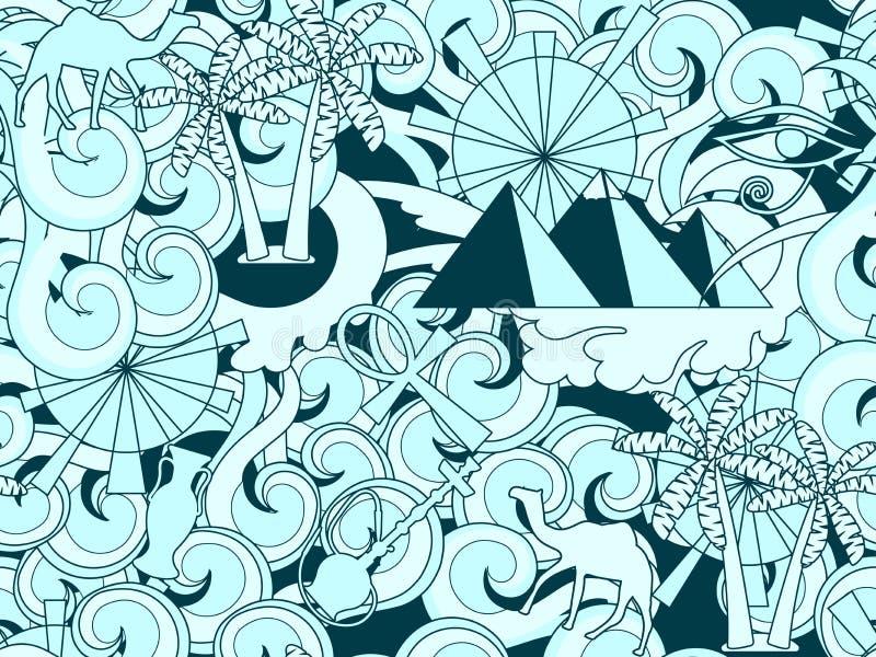 Het naadloze patroon van Egypte Hand getrokken krabbel oude Egyptische eleme stock illustratie