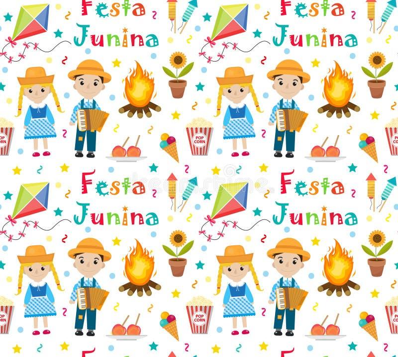 Het naadloze patroon van Festajunina Braziliaanse Latijns-Amerikaanse festival eindeloze achtergrond Het herhalen van textuur met vector illustratie