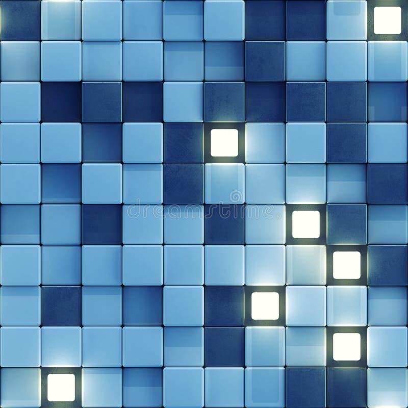 Het naadloze patroon van gloeiende witte en blauwe 3D tegels geeft terug vector illustratie