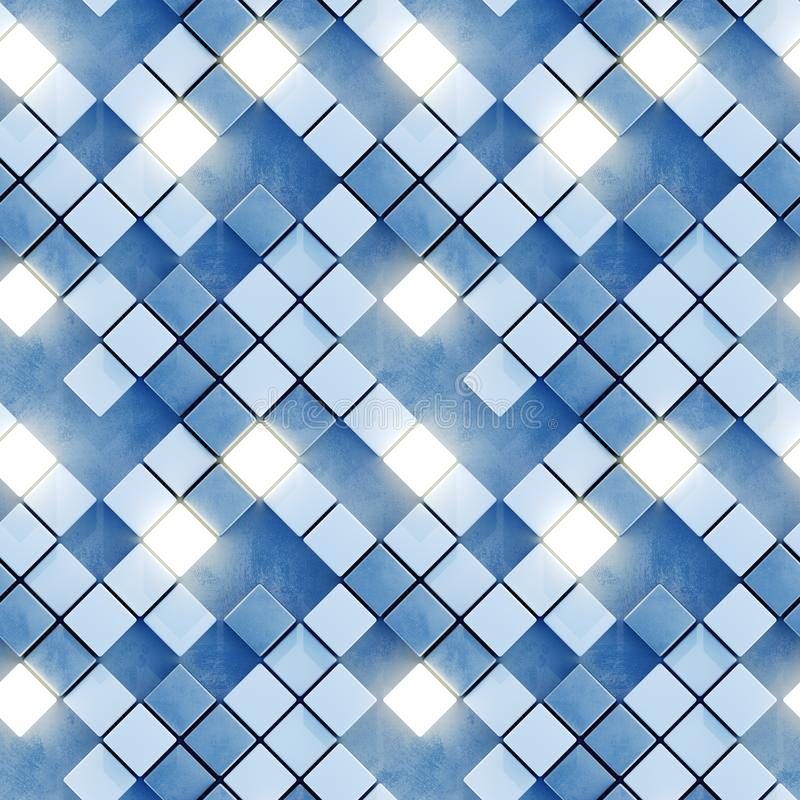Het naadloze patroon van gloeiende witte en blauwe 3D tegels geeft terug royalty-vrije illustratie