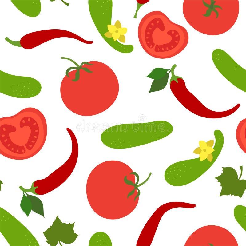 Het naadloze patroon van groenten Komkommer, tomaat en peper paprika Hand getrokken krabbel vectorschets Gezonde voedselinzamelin vector illustratie