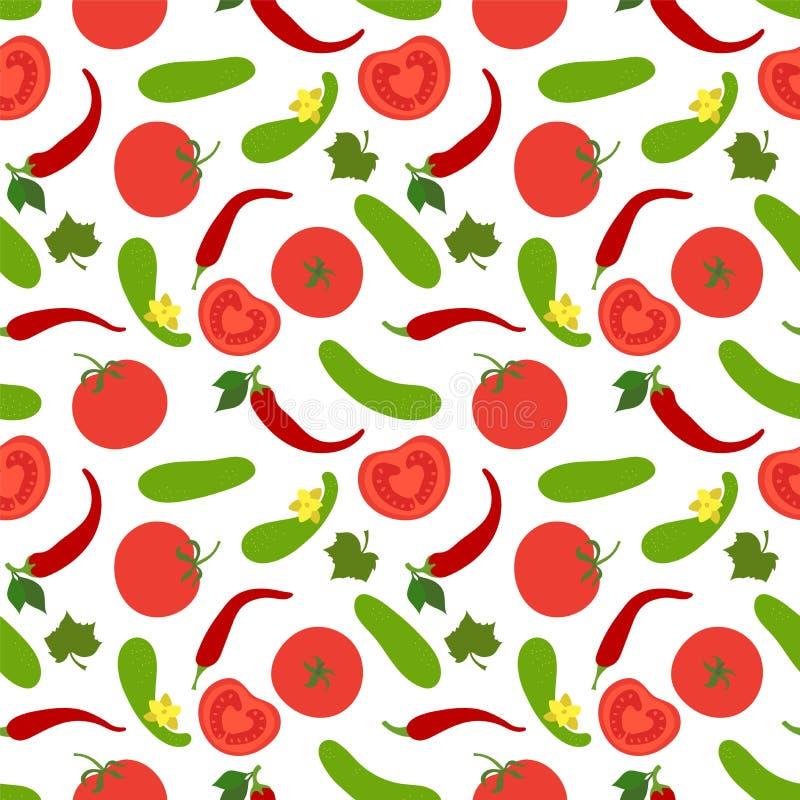 Het naadloze patroon van groenten Komkommer, tomaat en peper paprika Hand getrokken krabbel vectorschets Gezonde voedselinzamelin stock illustratie