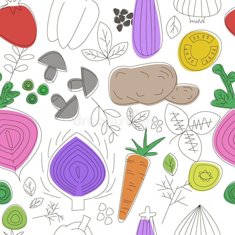 Het naadloze patroon van groenten Lineaire grafisch De achtergrond van groenten Skandinavische stijl Gezond voedselpatroon stock illustratie