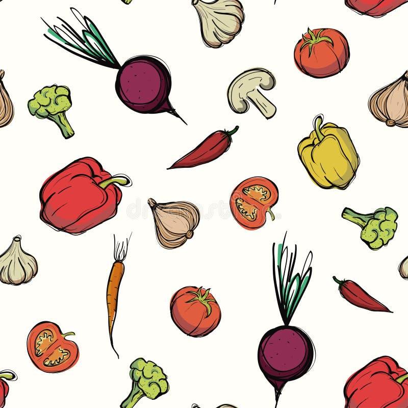 Het naadloze patroon van groenten Lineaire grafisch De achtergrond van groenten Vector illustratie stock illustratie