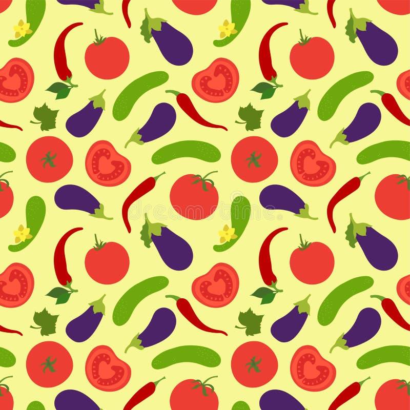 Het naadloze patroon van groenten Tomaat, komkommer, peper, Spaanse peper en aubergine paprika Hand getrokken krabbel vectorschet stock illustratie