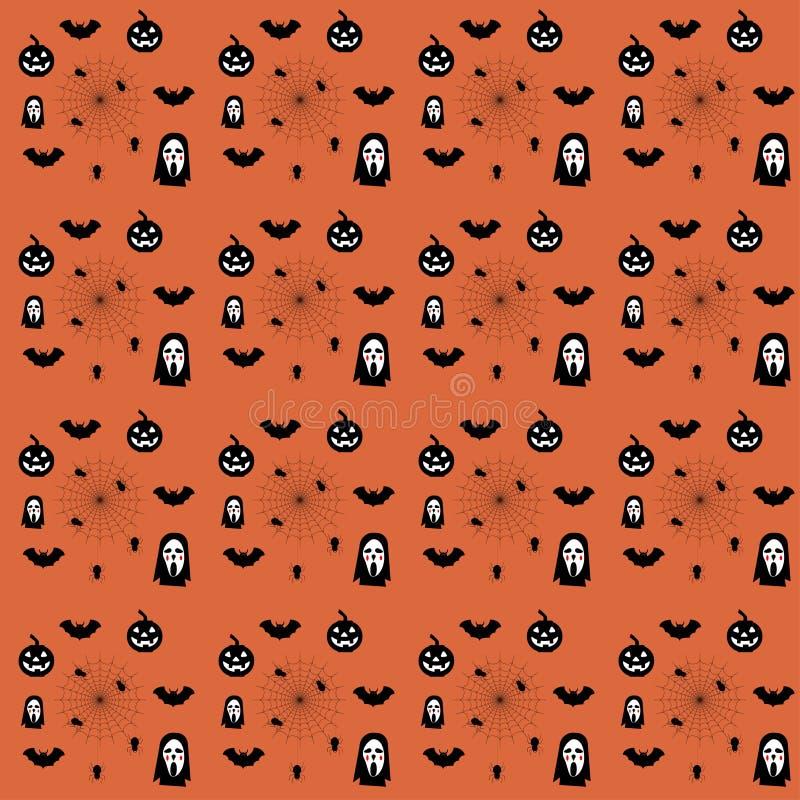 Het naadloze patroon van Halloween De dag van de Doden, Pompoen, spook, vector illustratie