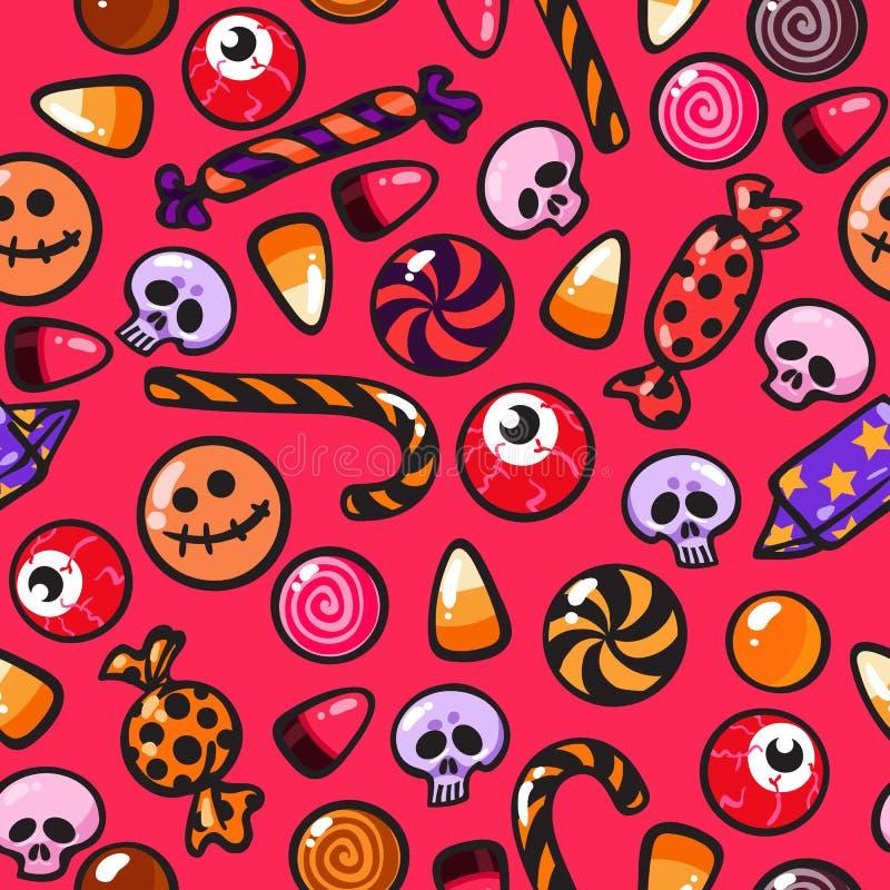 Het naadloze patroon van Halloween met beeldverhaalsuikergoed in de vorm van schedels en oogappels op rode achtergrond royalty-vrije illustratie