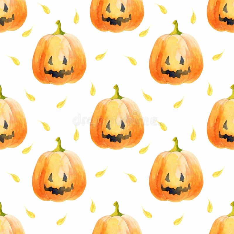 Het naadloze patroon van Halloween met grappige pompoenen stock afbeeldingen