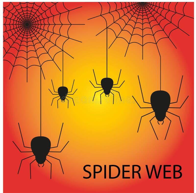 Het naadloze patroon van Halloween met leuke spin en Web royalty-vrije stock afbeelding