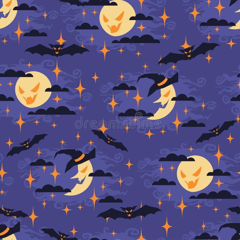 Het naadloze patroon van Halloween met maan royalty-vrije illustratie