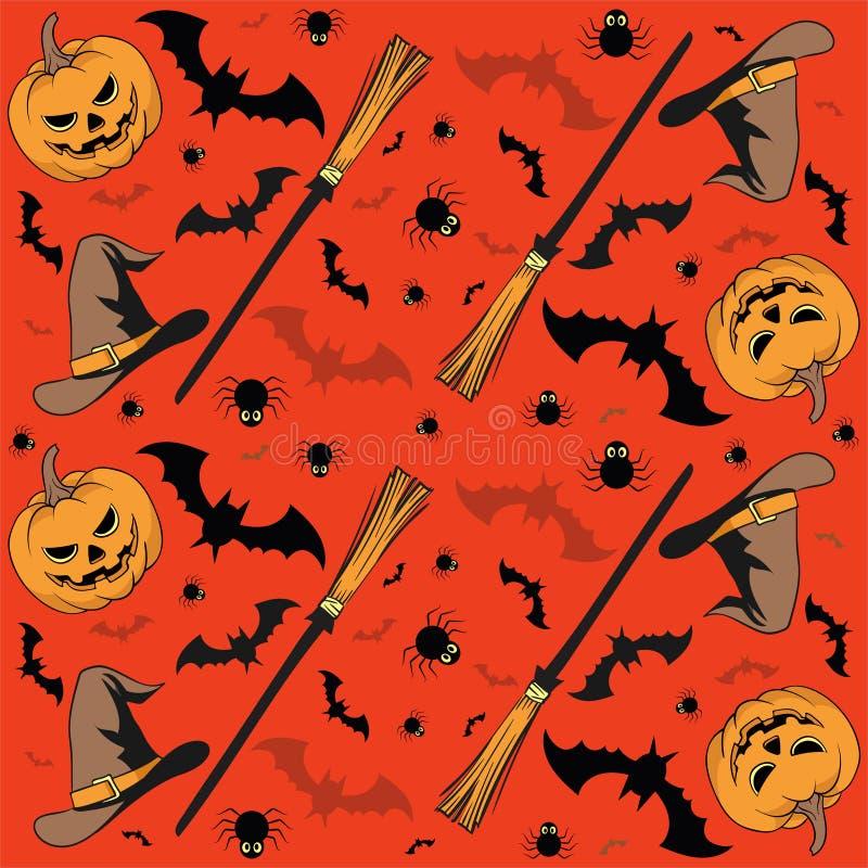 Het naadloze patroon van Halloween met pompoen, kaarsen, schedels, bezem, knuppel en heksenhoed - vector vector illustratie