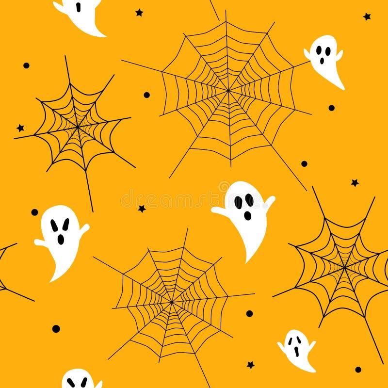 Het naadloze patroon van Halloween met spoken en spinnewebben vector illustratie