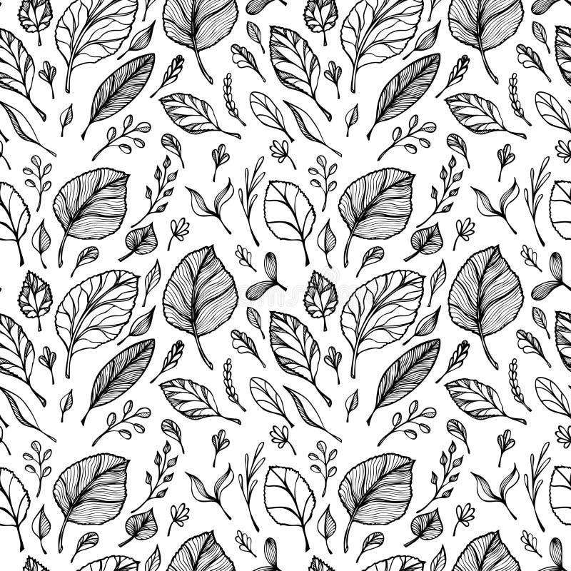 Het naadloze patroon van Hand trekt structuur van bladerenzwarte op wit in lijnart. stock illustratie