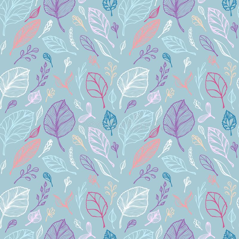 Het naadloze patroon van Hand trekt structuur van kleurrijke bladeren op blauw lijnart. stock illustratie