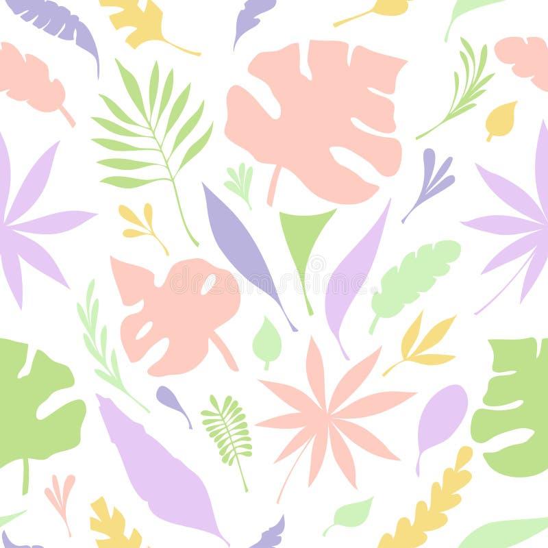 Het naadloze patroon van hand trekt structuur van tropische kleurrijke bladeren op wit royalty-vrije illustratie