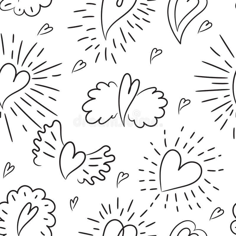 Het naadloze patroon van het hart De vector illustratie van de Liefde vleugels De Dag van Valentine, Moederdag, huwelijk, plakboe royalty-vrije illustratie