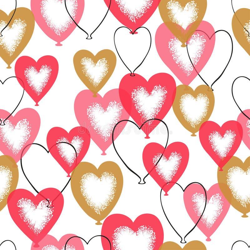 Het naadloze patroon van hartballons De romantische achtergrond van de Dag van valentijnskaarten royalty-vrije illustratie