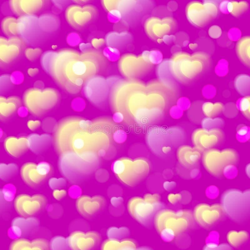 Het naadloze patroon van harten Kleurrijke pluizige harten op roze purpere achtergrond Liefde De dagachtergrond van de valentijns vector illustratie