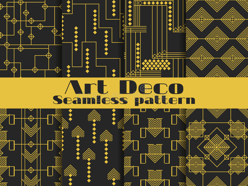 Het naadloze patroon van het art deco Vastgestelde retro achtergronden, gouden en zwarte kleur Stijl 1920 ` s, 1930 ` s Vector royalty-vrije illustratie
