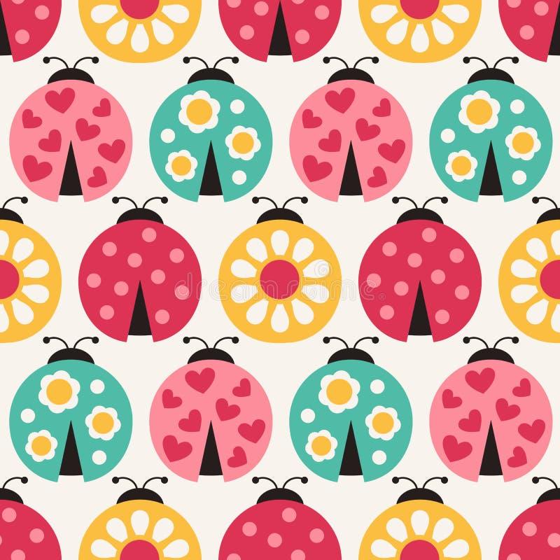 Het naadloze patroon van het beeldverhaallieveheersbeestje stock illustratie