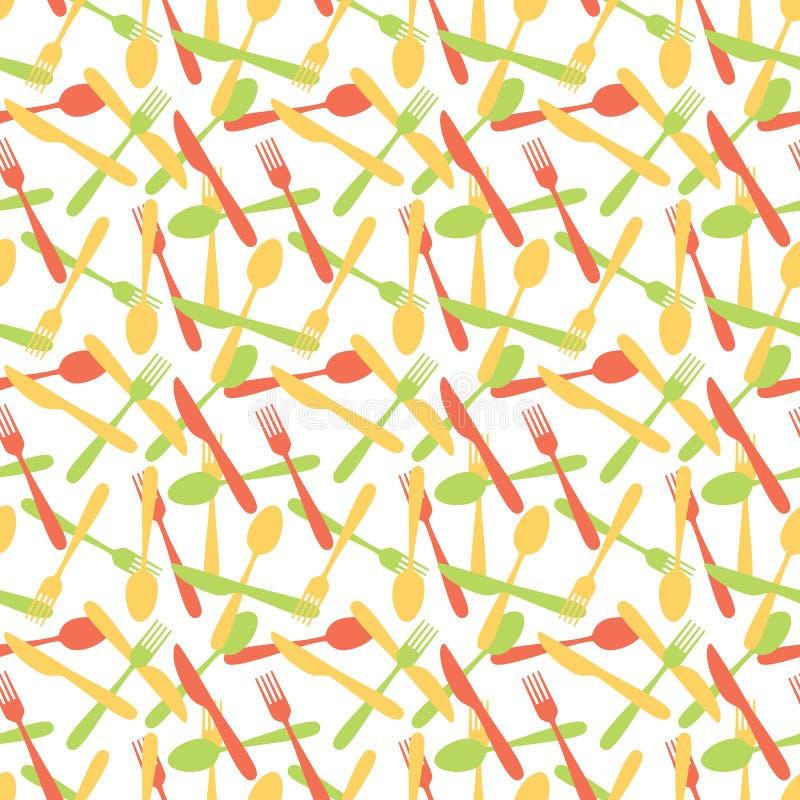 Het naadloze Patroon van het Bestektafelzilver vector illustratie