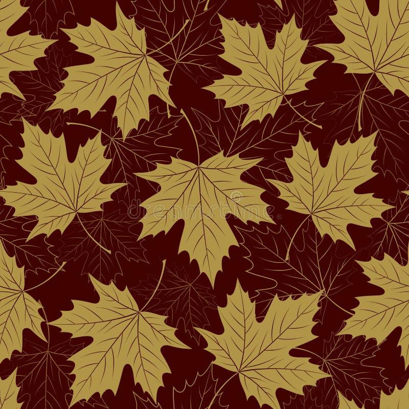 Het naadloze patroon van het dalingsblad De herfstgebladerte Het herhalen van gouden kleurenontwerp stock illustratie