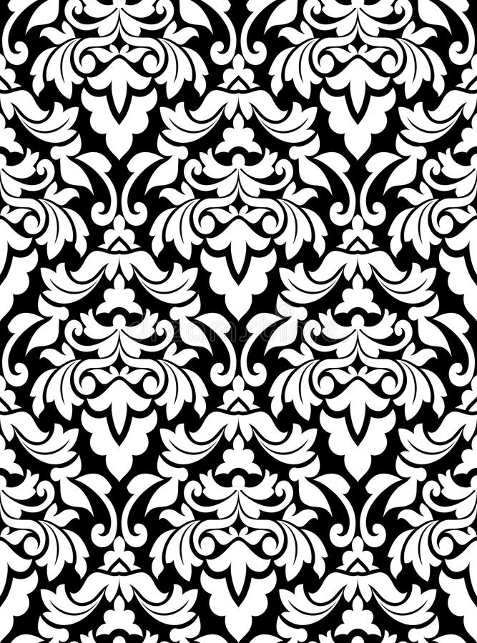 Het naadloze patroon van het damast stock illustratie