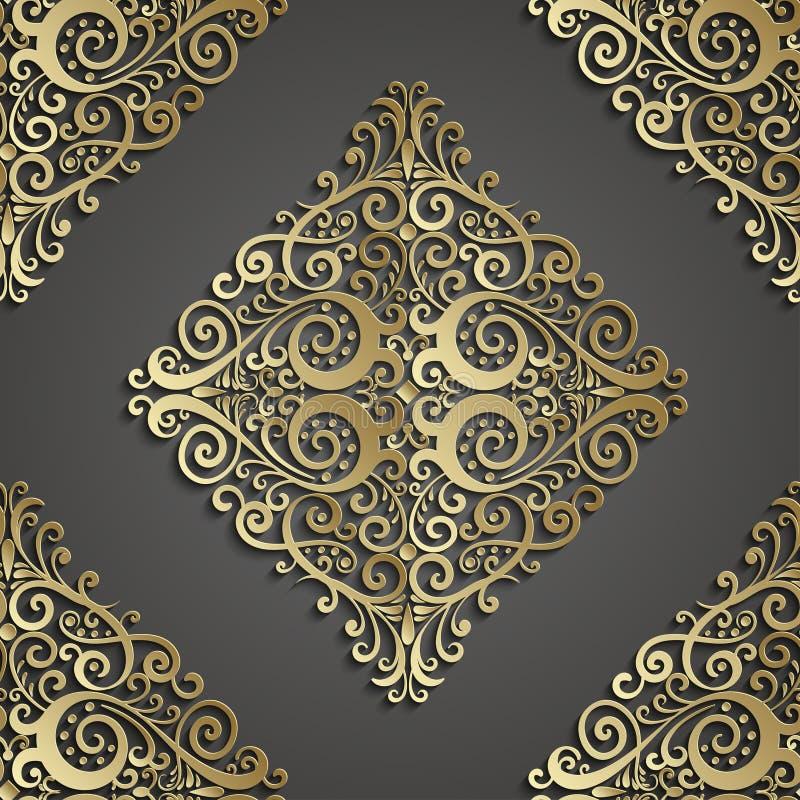 Het naadloze patroon van het damast 3D element met schaduw en hoogtepunt vector illustratie